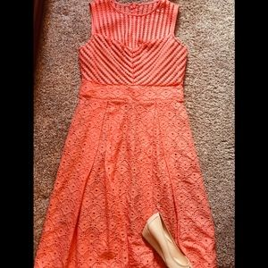 New York and Co. Peach and Nude Eyelet Dress-M
